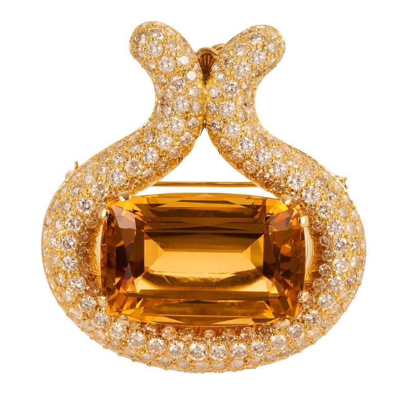 Citrine and Diamond Brooch/Pendant