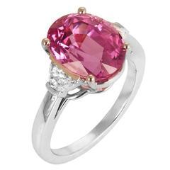 Pink Sapphire Diamond Platinum Three Stone Ring