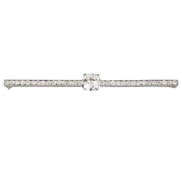 Cartier 3.14 Carat Diamond Platinum Bar Brooch