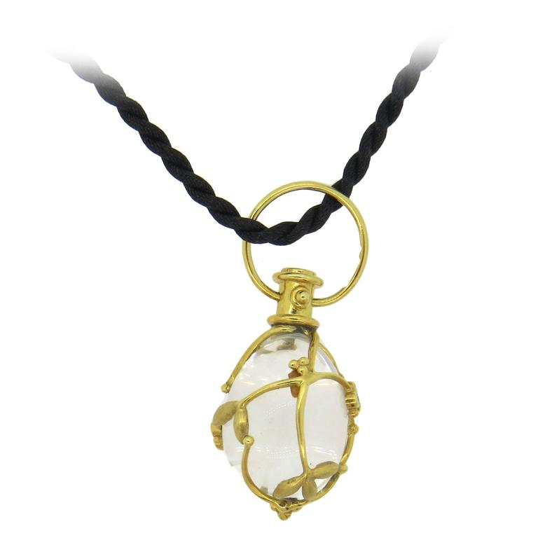 Temple St. Clair Crystal Diamond Gold Vine Amulet Pendant Cord Necklace  1