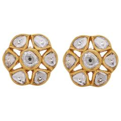 Unique Floral Rose Cut Diamond Gold Stud Earrings
