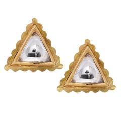 Stunning Triangle Shape Royal rose cut Diamond gold Stud Earrings