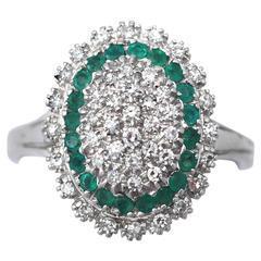 1990s Diamond & Emerald White Gold Cocktail Ring