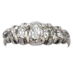1.30Ct Diamond & 15k Yellow Gold, Silver Set Dress Ring - Antique Victorian