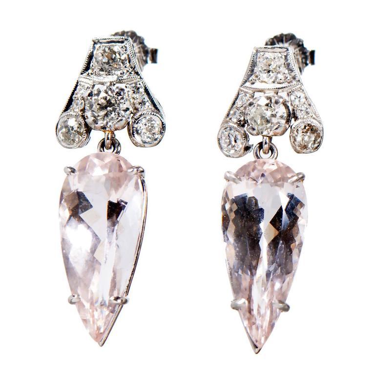 Morganite Diamond Platinum Dangle Earrings