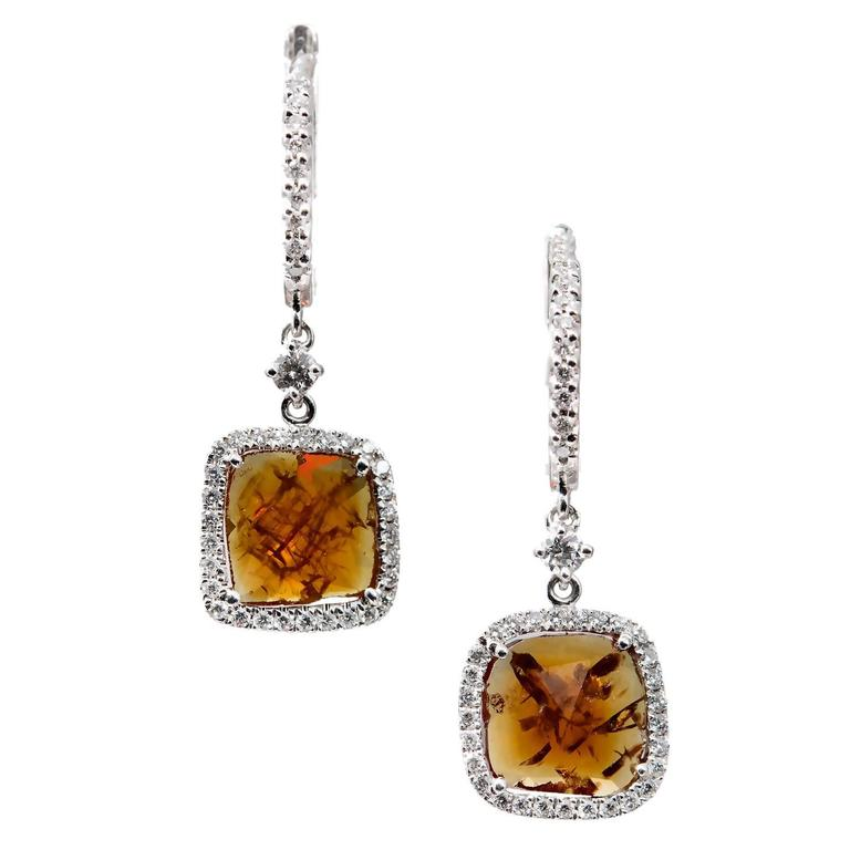 Citrine Diamond Gold Dangle Earrings