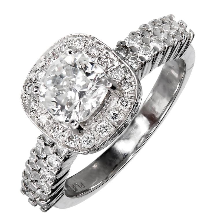 Cushion Diamond Platinum Halo Engagement Ring