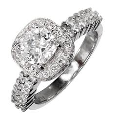 Cushion Diamond Platinum Halo Engagement Ring