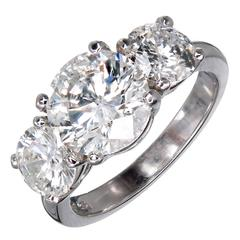 MG Three Stone Diamond Platinum Engagement Ring