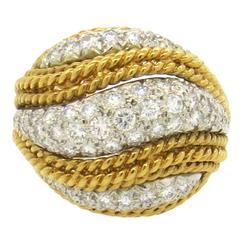 Classic 1960s Diamond Gold Dome Ring