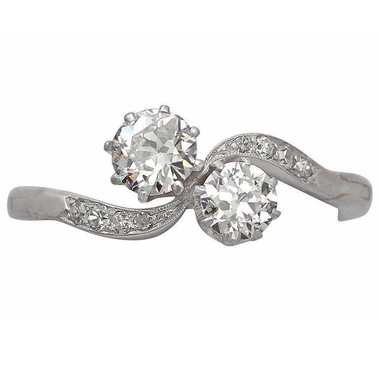 Old Cut  Diamond Platinum Twist Ring