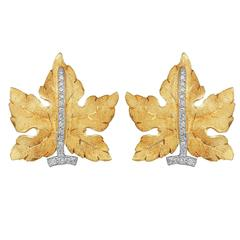 Buccellati Diamond Gold Leaf Earrings