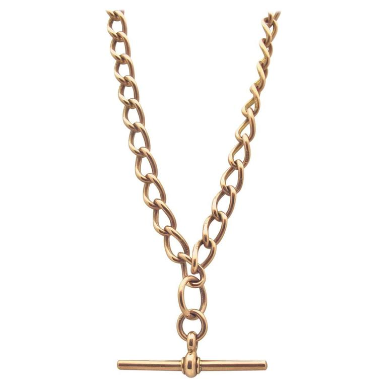 1900s Rose Gold Watch Fob Chain Necklace