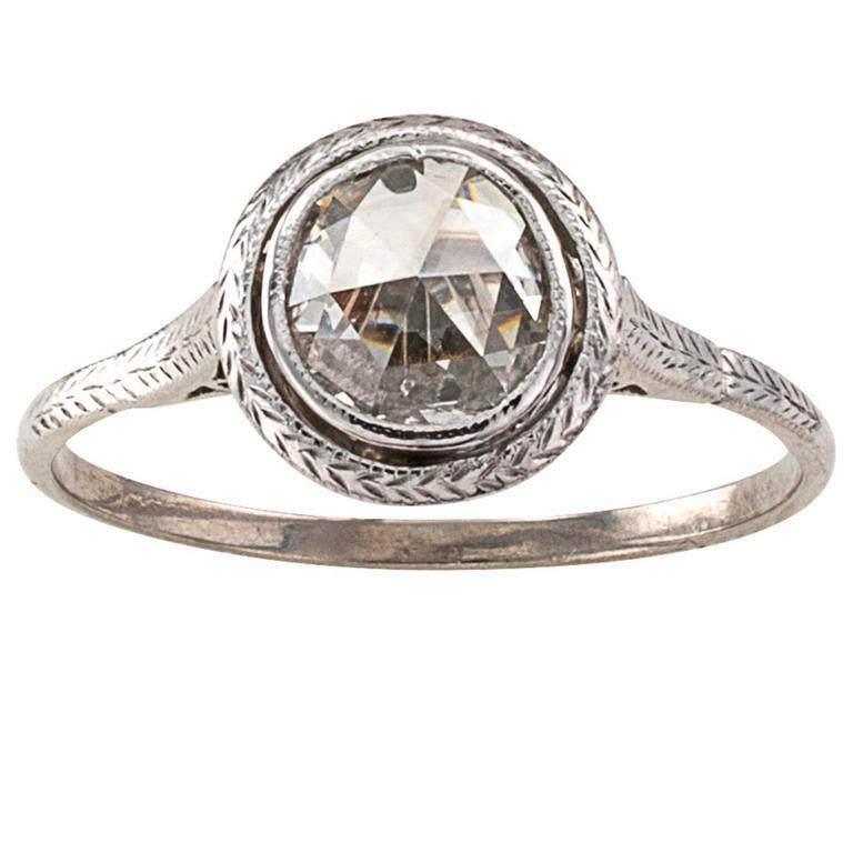 edwardian rosecut diamond gold platinum solitaire