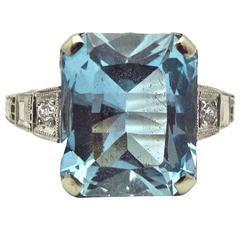 1920s Aquamarine Diamond Gold Ring