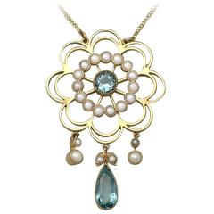 Antique Aquamarine Pearl Gold Pendant
