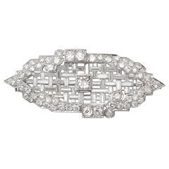 5.83Ct Diamond and Platinum Brooch - Art Deco Style - Antique Circa 1920