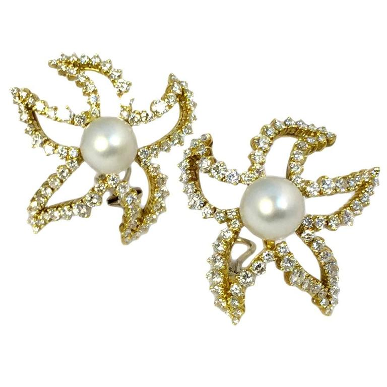 pearl diamond gold starfish Earclips