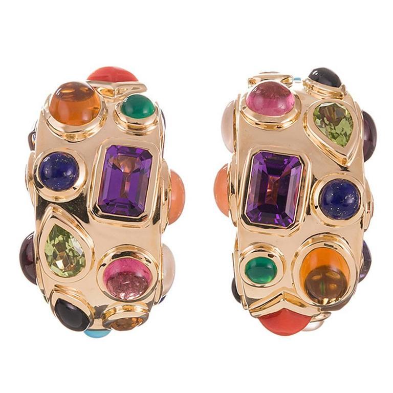 Seaman Schepps Multi-Gemstone Gold Hoop Earrings For Sale