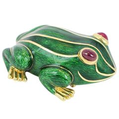 David Webb Green Enamel Frog Pin