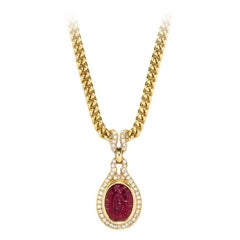 Bulgari Ancient Intaglio Diamond Gold Necklace