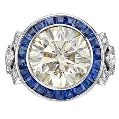 Raymond Yard GIA Cert 8.02 Carat Round Brilliant Diamond Sapphire platinum Ring