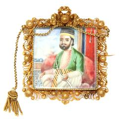 1820s Indian Miniature Painting Cannetille Brooch