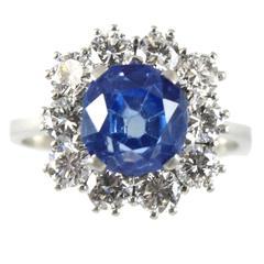 Rare Kashmir Sapphire Diamond White Gold Ring