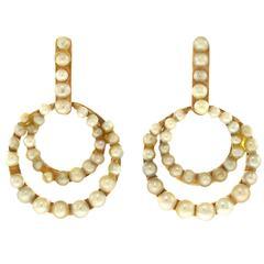Art Deco Pearl Set Gold Earrings