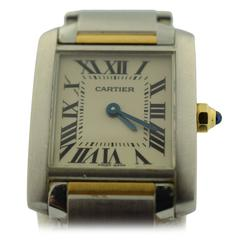 Cartier Yellow Gold Stainless Steel Small Tank Francaise Quartz Wristwatch