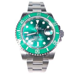 Rolex Stainless Steel Green Hulk Submariner Wristwatch Ref 116610V