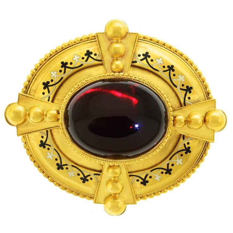 Antique Gothic Revival Garnet and Enamel Gold Brooch