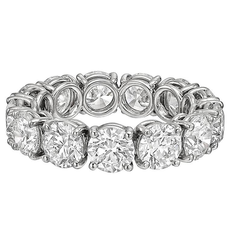 Round Brilliant GIA Cert Diamond Platinum Eternity Band Ring 1
