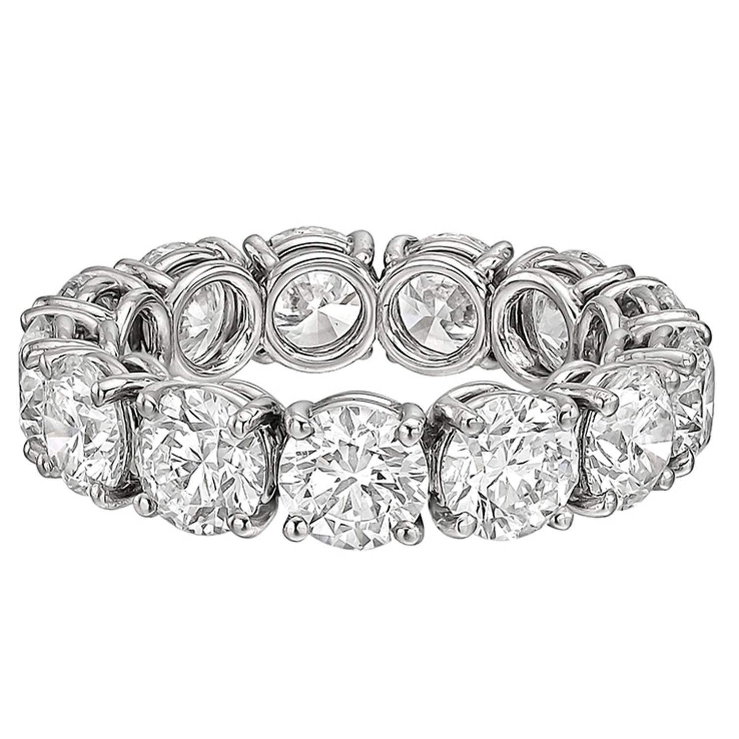 weighing diamond a brilliant bands platinum betteridge ct prong edge sculpted approx shared ring in setting u band carats tw mounted round style with sixteen eternity diamonds p total