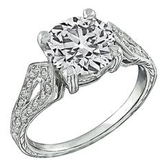 2.40 Carat Old European Cut Diamond Platinum Engagement Ring