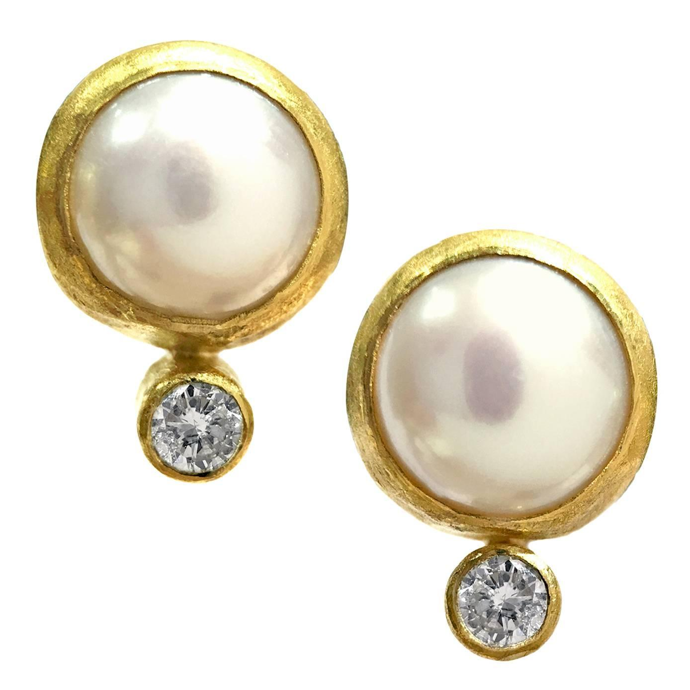 Petra Class e of a Kind Freshwater Pearl Diamond Gold Stud