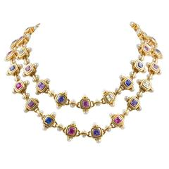 JAR Multi Color Sapphire Pearl Gold Necklace