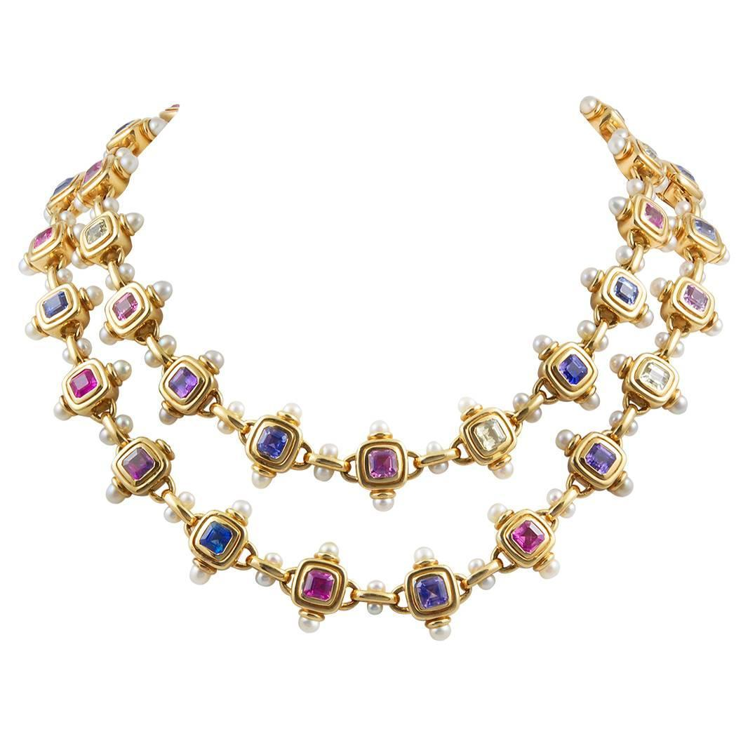 JAR Multi Color Sapphire Pearl Gold Necklace For Sale at ...