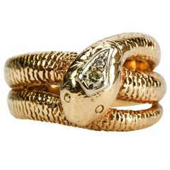 Timeless Art Deco Diamond Gold Snake Ring