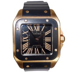 Cartier rose gold Santos 100 Black Dial Automatic Wristwatch