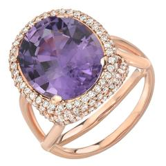 Tamir Rare 5.59 Carat Lavender Tourmaline Diamond Gold Ring