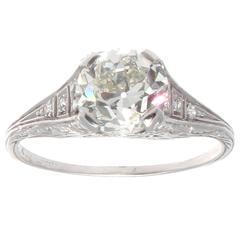 Art Deco 1.77 Carat GIA Cert Diamond Platinum Engagement Ring