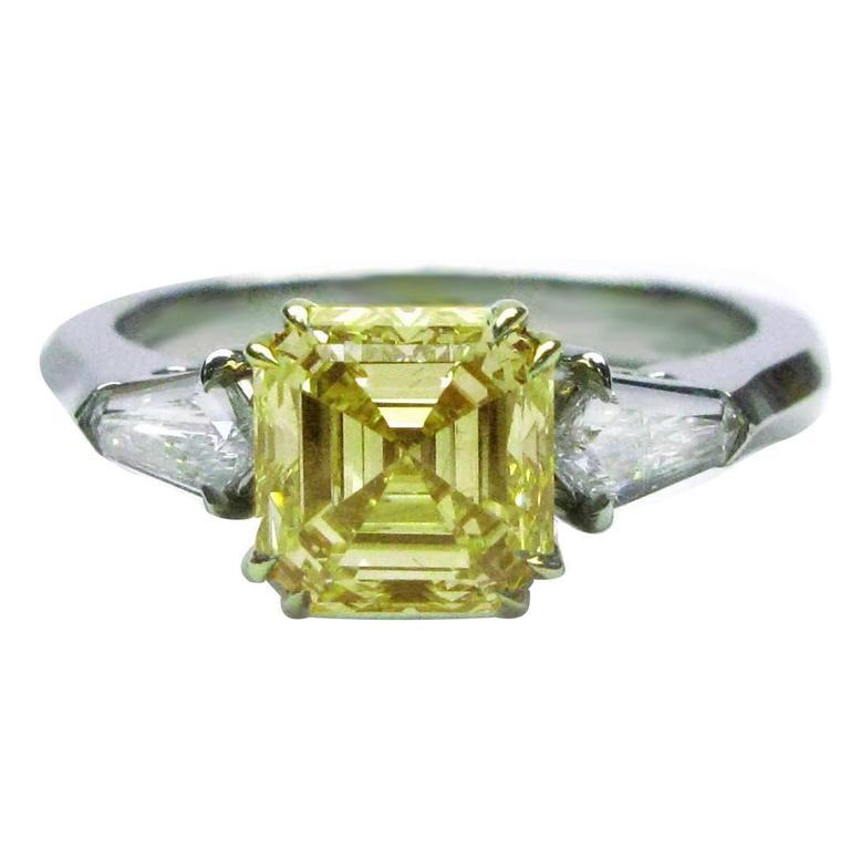 1.91 Carat GIA Cert Fancy Yellow Asscher Cut Diamond Platinum Engagement Ring