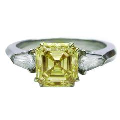 1.91 Carat GIA Cert Fancy Yellow Asscher Cut Diamond Platinum Engagement Ring