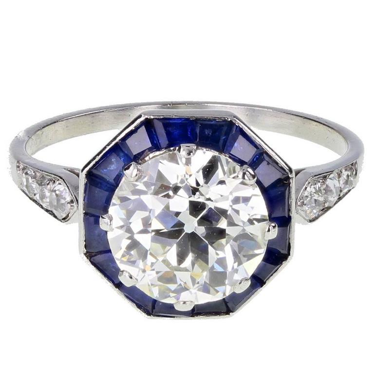 art deco solitaire diamond calibre cut sapphire platinum. Black Bedroom Furniture Sets. Home Design Ideas