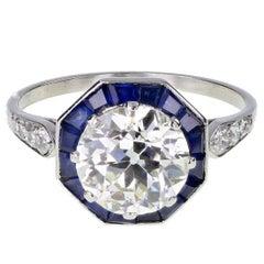 Art Deco Solitaire 2.00 Carat Diamond Calibre Cut Sapphire Platinum Ring