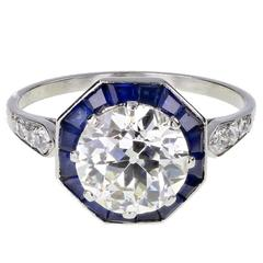 Art Deco Solitaire 2.00 Carat Diamond Calibre Cut Sapphire Platinum Ring