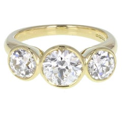 Bezel Set Diamond Three Stone 18ct Gold Ring