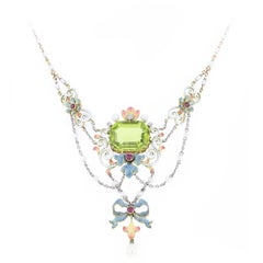 Art Nouveau Peridot Enamel Pearl Necklace