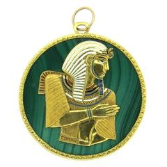 1970s Egyptian Themed Enamel Malachite Gold Pharaoh Pendant